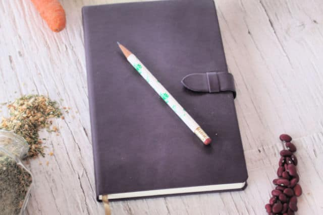 A journal with pencil on top surrounded by food for seasonal meal planning.