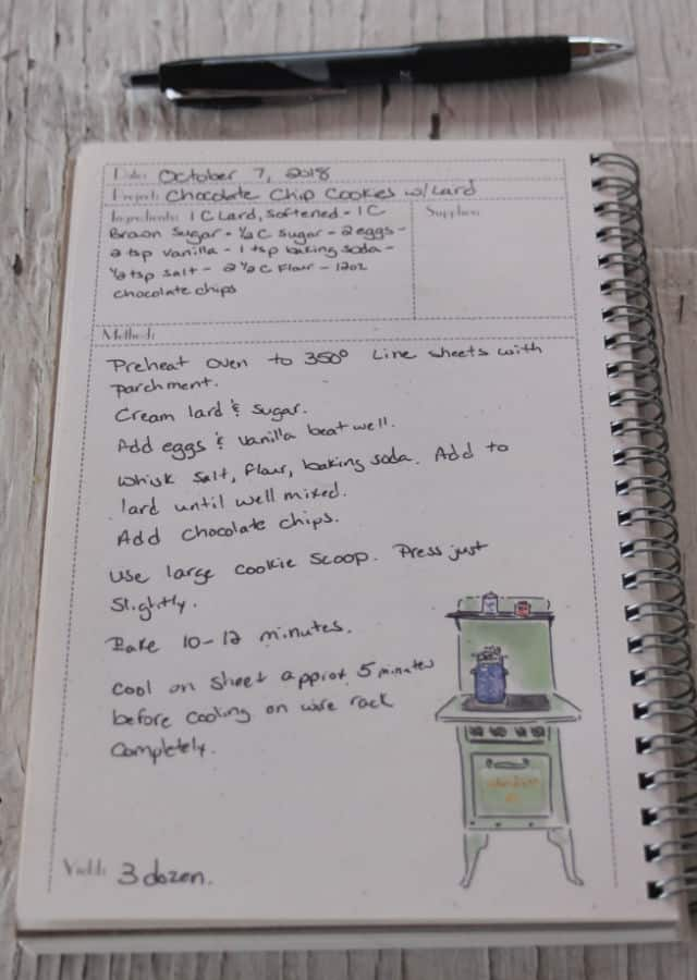 A page in a recipe book with a handwritten recipe for chocolate chip cookies.