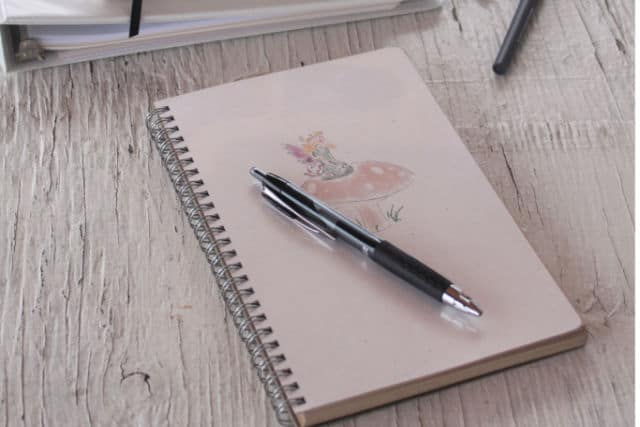 A closed journal with pen on top.
