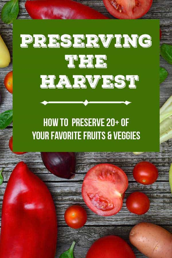 Fresh vegetables on a table with text overlay 'preserving the harvest'