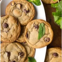 Mint Chocolate Chip Cookies with fresh mint - Dessert for Two