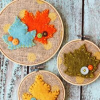 Felt Leaf Embroidery Hoop Art Fall Decor