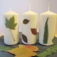 How to Decorate Candles with Pressed Leaves