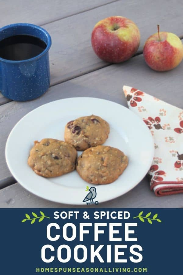 Three soft spiced coffee cookies on a plate surrounded by fresh apples, a cup of coffee, and a napkin with text overlay.