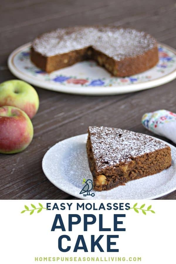 A slice of apple molasses cake dusted with powdered sugar on a plate sitting in front of the rest of the cake with a napkin and fresh apples.