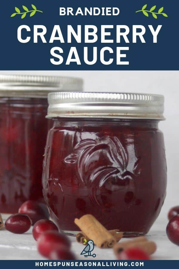 2 jars of brandied cranberry sauce on a table surrounded by cinnamon sticks and fresh cranberries with a text overlay.