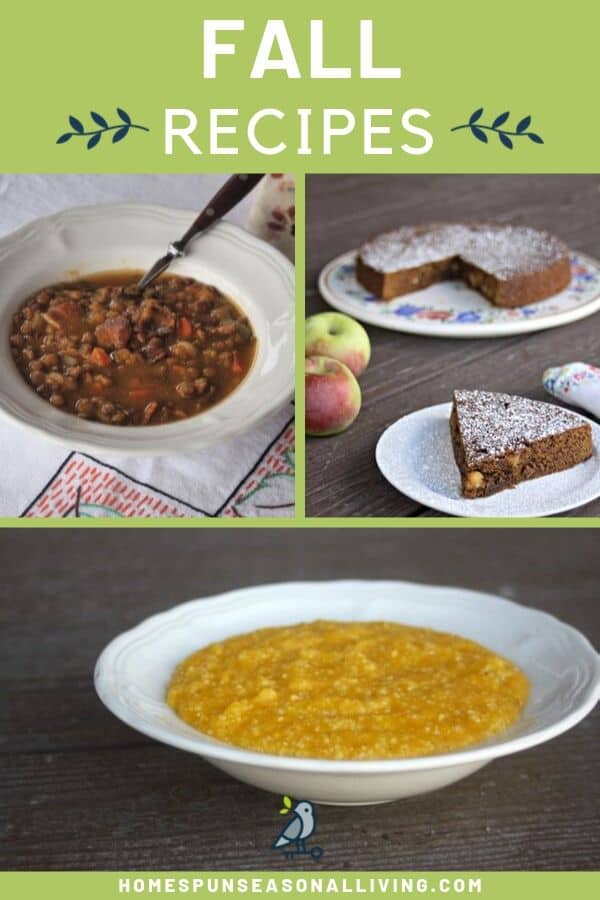 A collage of fall recipe photos including lentil soup, apple molasses cake, and grits with text overlay.