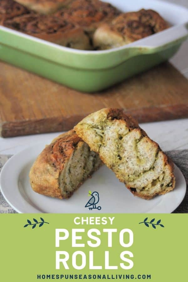 Cheesy Pesto Rolls on a plate with text overlay.