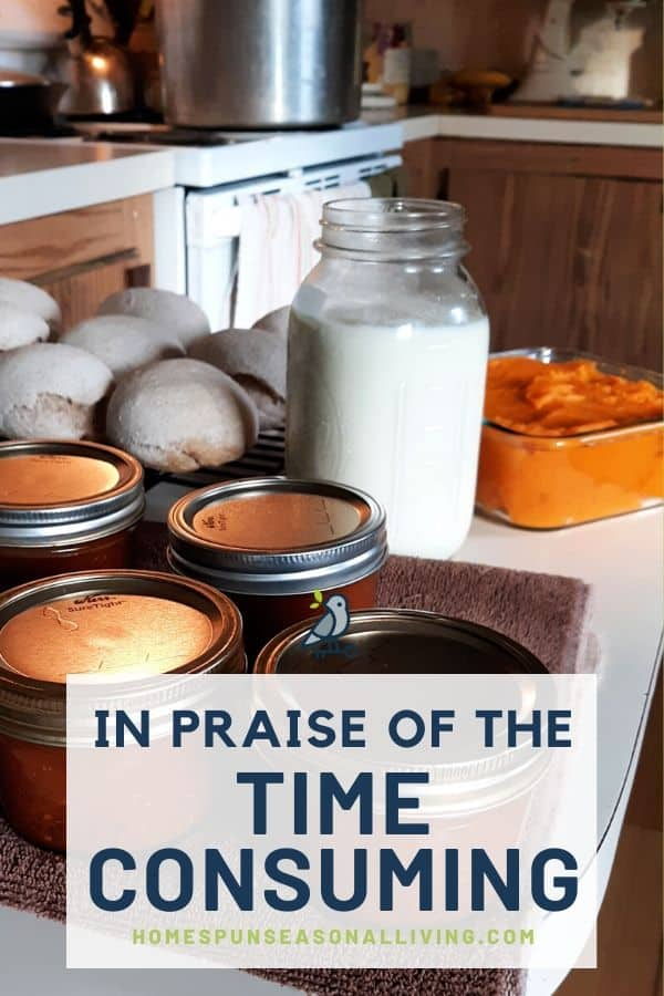 A kitchen counter full of jars of canned tomato sauce, freshly made bread rolls, a jar of yogurt, and pumpkin puree with text overlay.