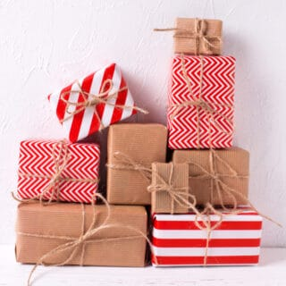 A stack of wrapped presents.