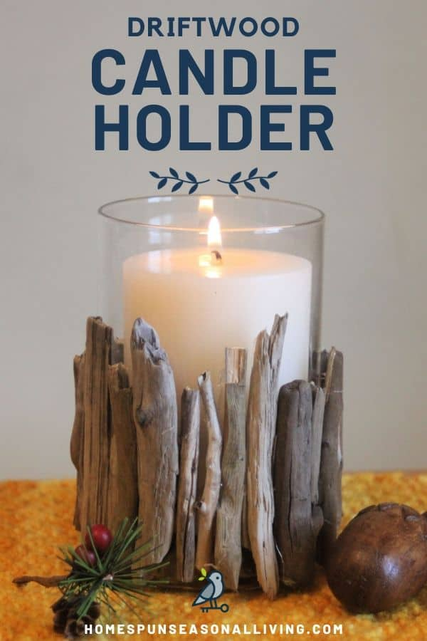 A lit candle in a driftwood candle holder on a placemat with text overlay.