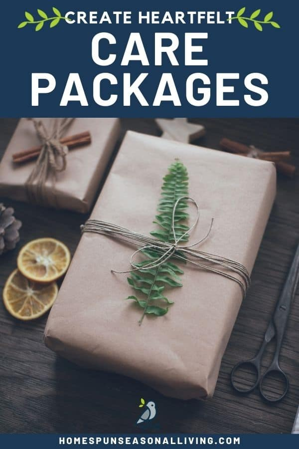 A brown wrapped package with a leaf tied to it with twine, surrounded by scissors, orange slices, and more packages with text overlay stating: create heartfelt care packages.