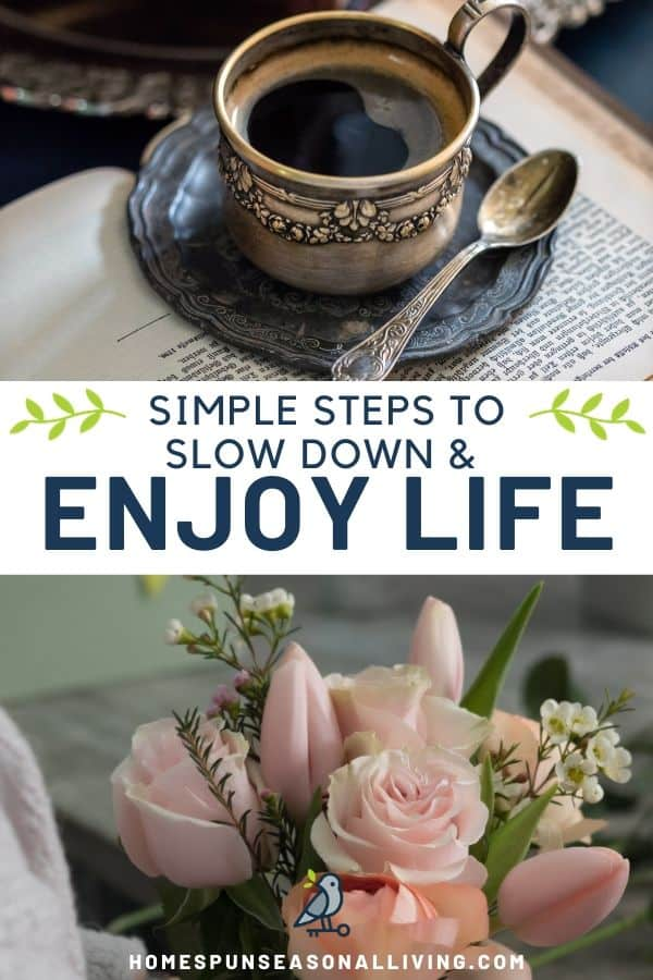 Stacked photos with a coffee cup and spoon top, flower arrangement on bottom, text overlay between them.