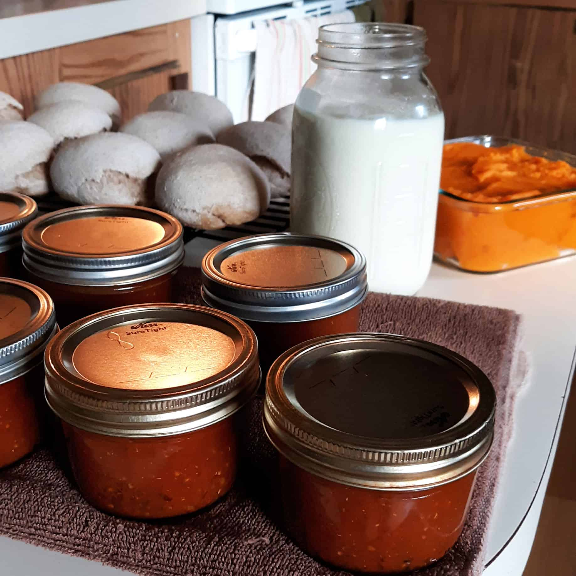 A kitchen counter full of jars of canned tomato sauce, freshly made bread rolls, a jar of yogurt, and pumpkin puree.