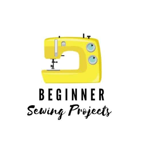 Yellow sewing machine drawing above Beginner Sewing Projects Text Logo.
