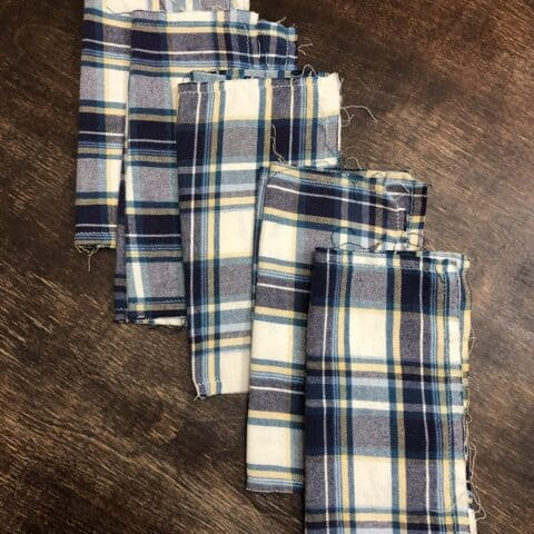 Upcycle flannel shirts into handkerchiefs