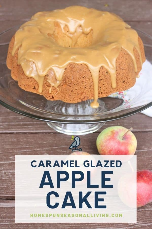 An apple cake with caramel glaze on a glass pie plate with text overlay.