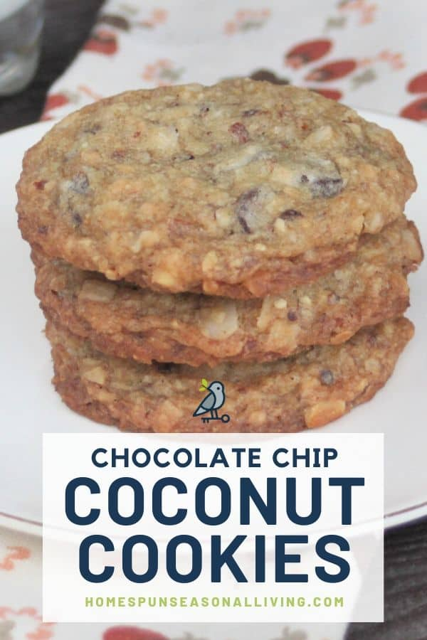 A stack of 3 coconut chocolate chip cookies on a white plate with text overlay.