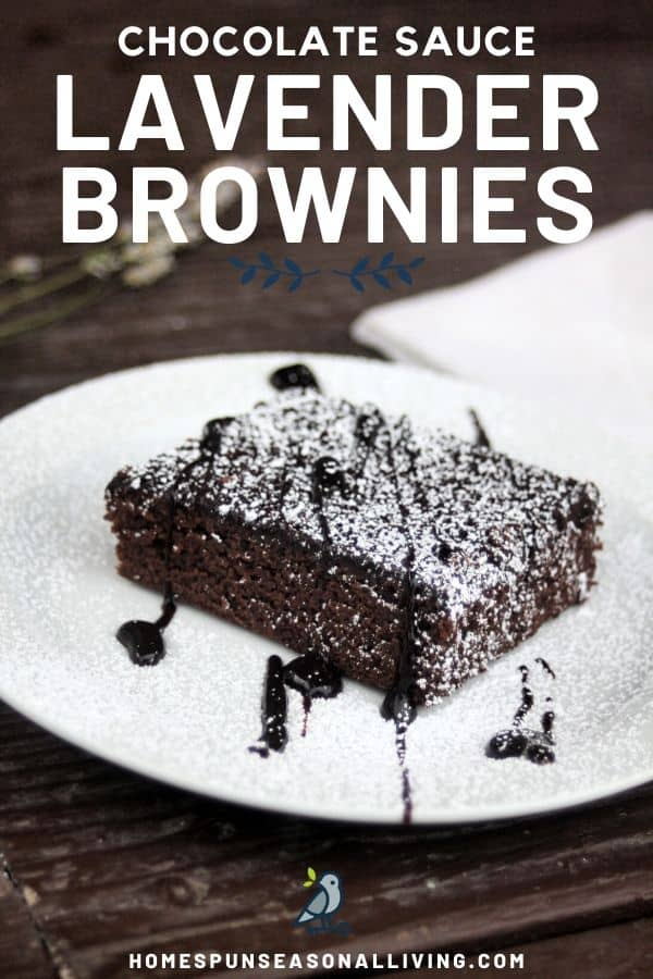 A lavender chocolate syrup brownie on a plate dusted with powdered sugar, includes text overlay.