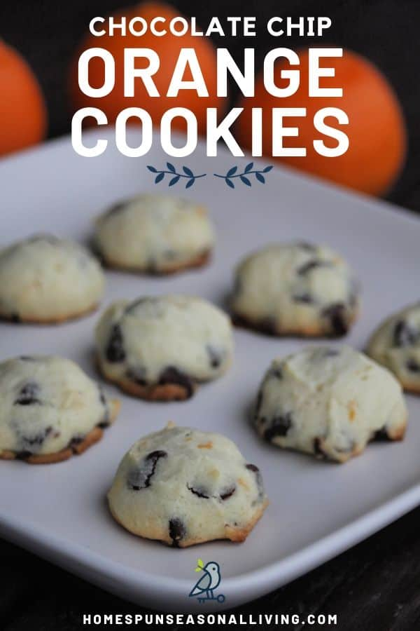 Orange chocolate chip cookies on a plate with text overlay.