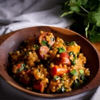 Couscous Veggie Bowls with Butternut Squash and Andouille Sausage