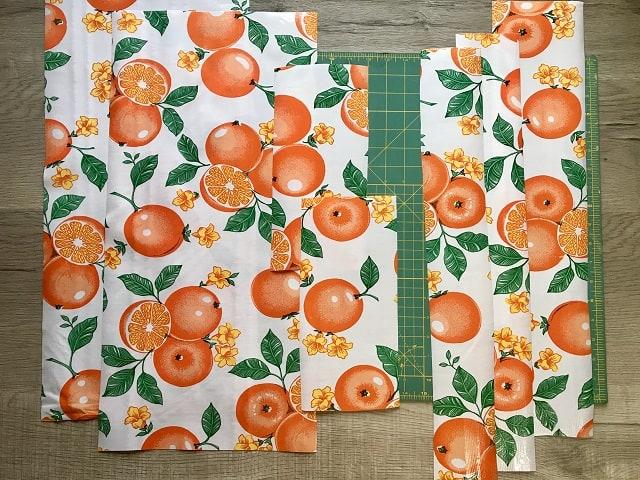 Cut pieces of oilcloth to make DIY garden kneel pad