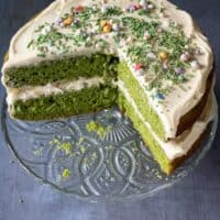 Vanilla Spinach Cake with Vanilla Frosting