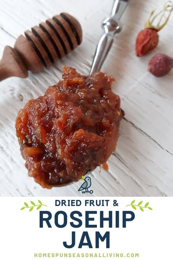 A spoon full of dried fruit and rosehip jam on a white table with a honey dipper and whole dried rosehips with text overlay.