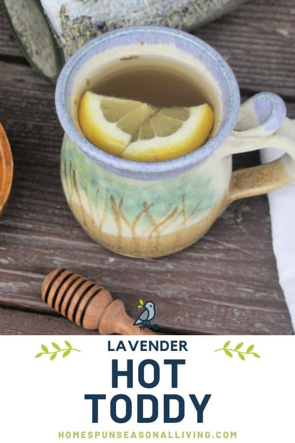 A cup of herbal tea with lemon wedges and text overlay.
