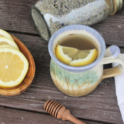 A cup of lavender hot toddy with lemons floating inside. Surrounded by a bowl of lemon slices, a honey dipper, a napkin, and a jar of dried lavender buds.