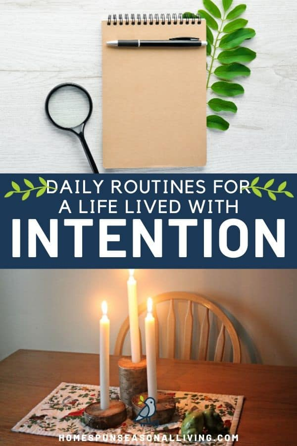A collage of 3 stacked photos with a tablet, pen, leafy stem, & magnifying glass on top, text overlay in the middle, and a candle table centerpiece on the bottom.