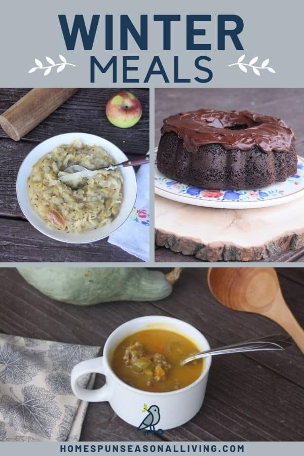A collage of 3 photos of sauerkraut, applesauce cake, and soup with text overlay.