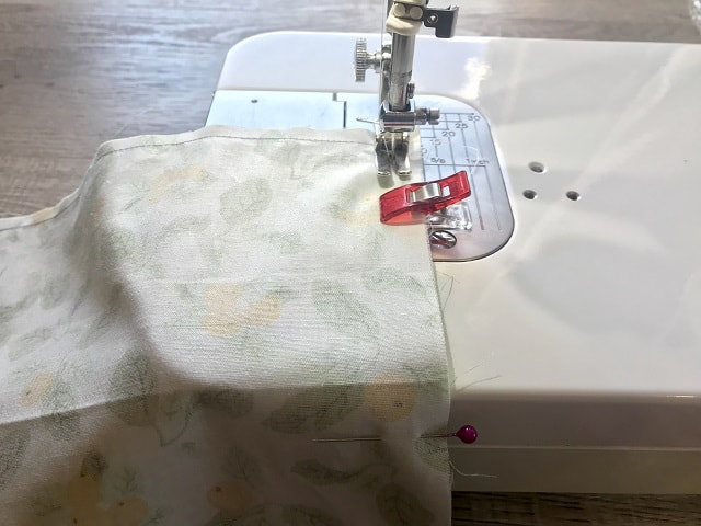 Sewing clothespin bag on sewing machine