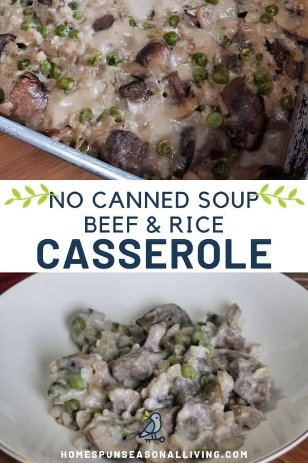 Stacked photos: A metal pan of beef and rice casserole photo on top, text overlay in the middle, a bowl of the casserole on the bottom.