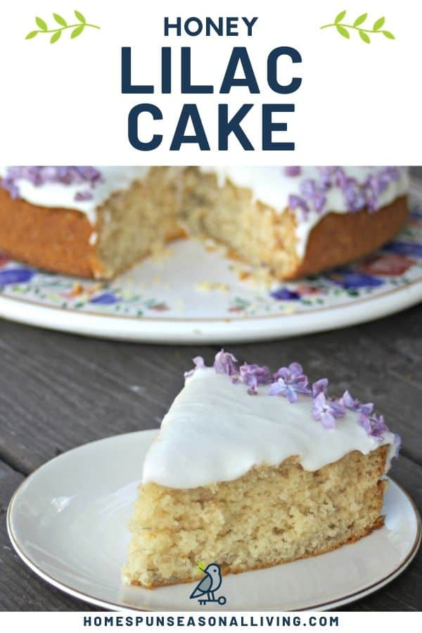 A slice of frosted lilac honey cake on a white plate sitting in front of the entire cake on a floral cake plate.