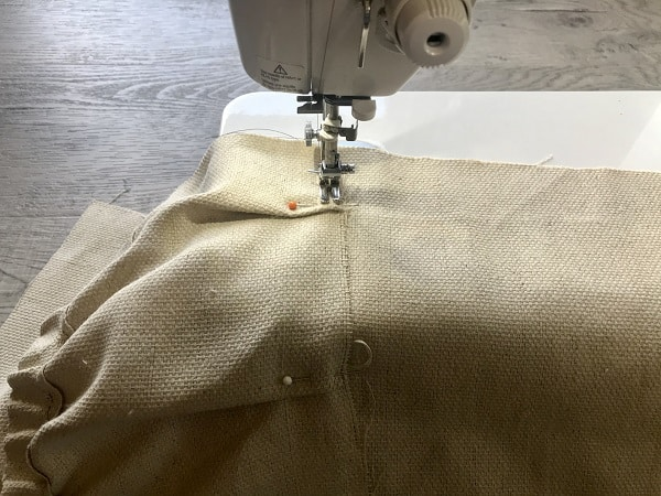 Sewing machine sewing pocket turn down with right sides together