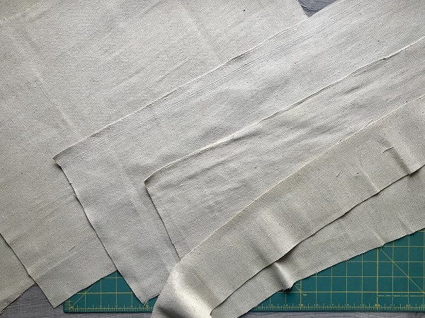 Pieces of a drop cloth cut to size for foraging apron