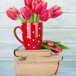 A red and white polka dotted coffee mug full of tulips sitting on top of a stack of old books.