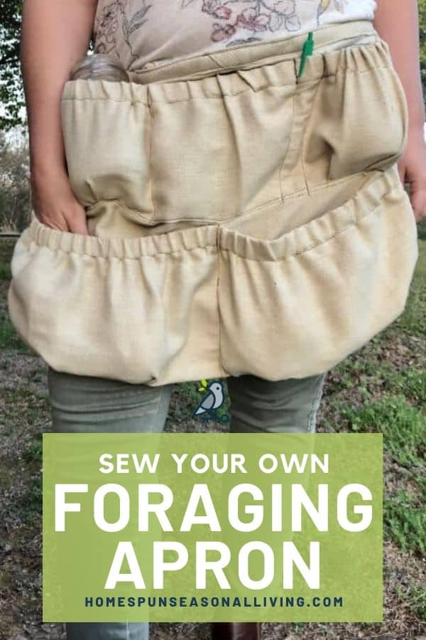 A foraging apron tied around a woman's waist with text overlay.