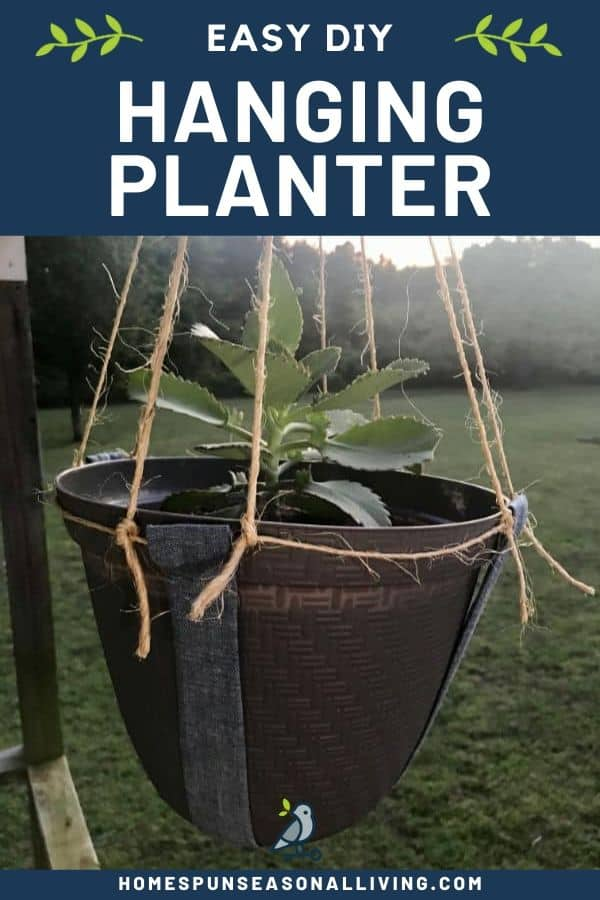 A potted plant hanging from a sewn hammock with text overlay.