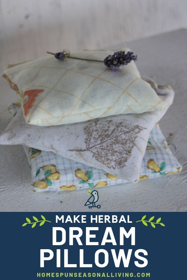 A stack of herbal dream pillows with lavender flower on top and text overlay.