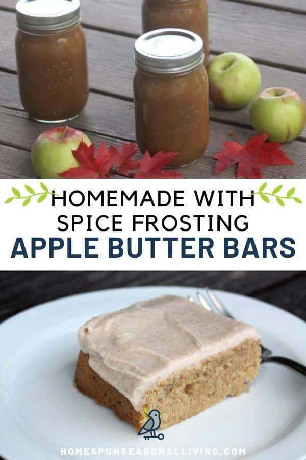 A collage of three images, jars of apple butter on top, text overlay in the middle, apple butter bar on white plate on the bottom.