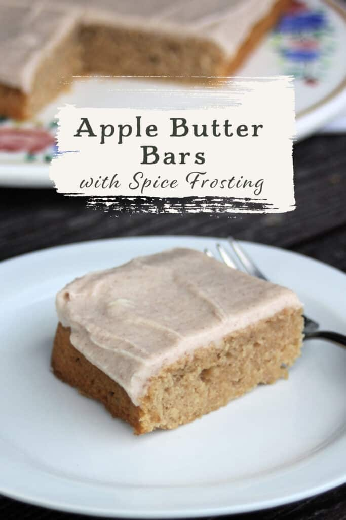 A frosted apple butter bar on a white plate with a fork and text overlay.