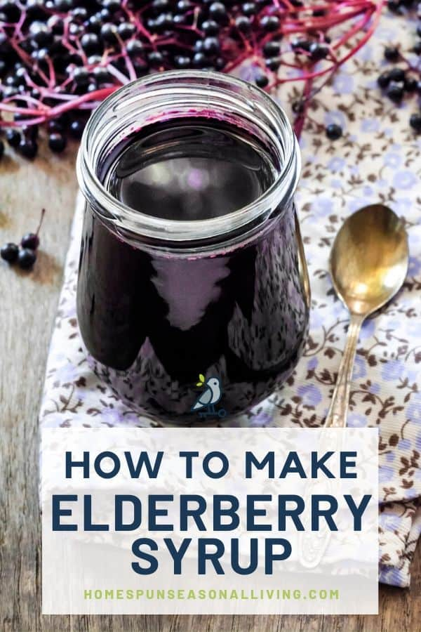 An open jar of elderberry syrup sitting on a floral napkin next to a spoon surrounded by fresh elderberries with text overlay.