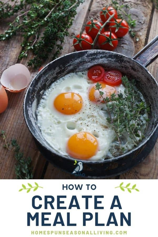 A pan with fried eggs, herbs, and tomatoes surrounded by egg shells, herbs and tomatoes with text overlay.