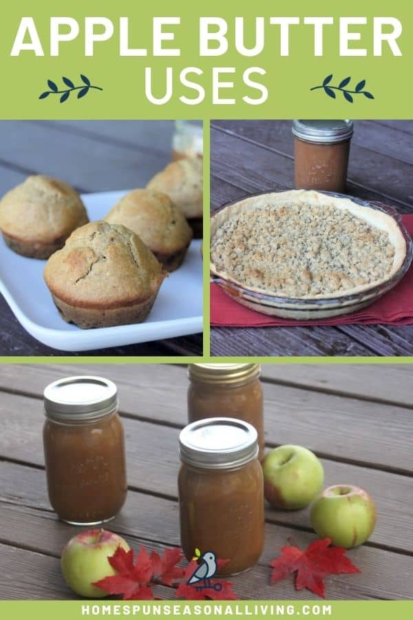 A photo of apple butter muffins alongside a photo of apple butter pie, both sitting on top of a photo of 3 jars of apple butter with text overlay on top of all stating: apple butter uses.