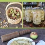 A collage of photos including a basket of fresh apples, jars of canned apple slices, and a bowl of sauerkraut and apples with text overlay stating: canned apple recipes.