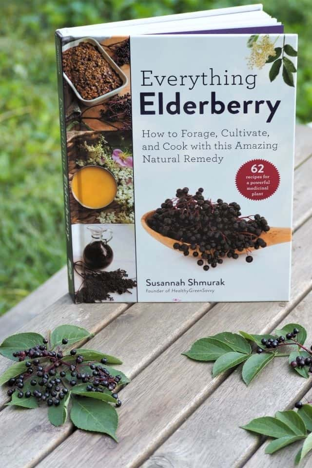 The book everything elderberry sitting on a picnic table with fresh leaves and elderberries surrounding it.