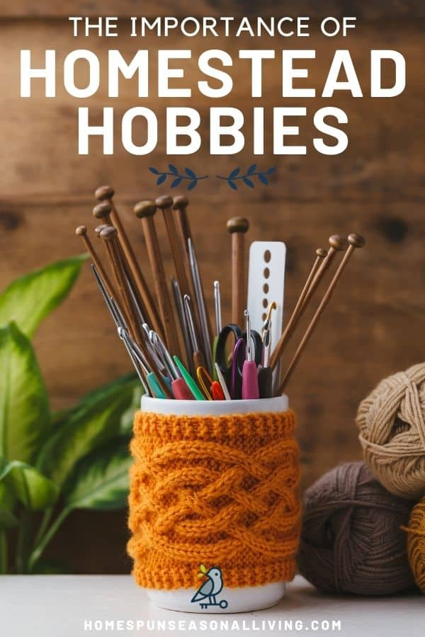 A white cup surrounded by a knitted cup and full of knitting needles, and crochet hooks sitting next to 3 balls of yarn with text overlay reading: the importance of homestead hobbies.