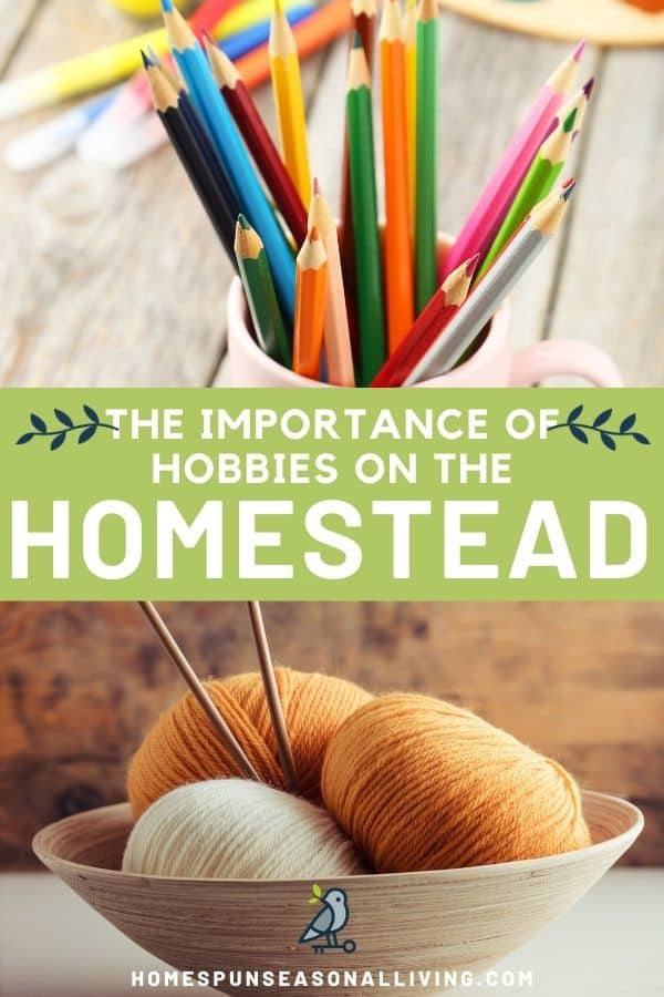 An image of a cup of colored pencils stacked on top of a green box with text overlay reading: the importance of hobbies on the homestead, stacked on top of an image of a bowl of balls of yarn with knitting needles.